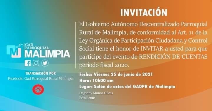INVITACIÓN AL PROCESO DE RENDICIÓN DE CUENTAS AÑO 2020.